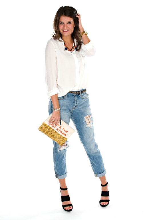 white blouse and boyfriend jeans
